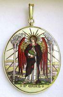 Arcángeles Uriel y Michael dos laterales pintados medallón