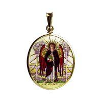 Arcángeles Uriel y Michael dos laterales pintados medallón de joyas