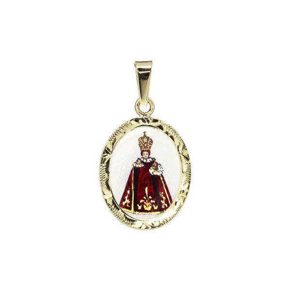 185R crimson Holy Child of Prague Medallion