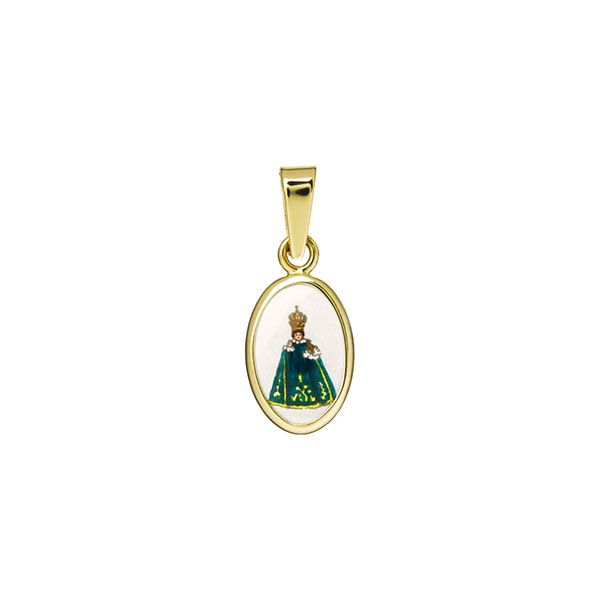 011H green Infant Jesus of Prague miniature medal