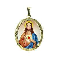 Medalla de Sagrado Corazón de Jesús más grande azul