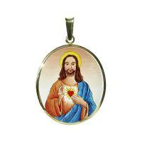 Sagrado Corazón de Jesús más grande medalla azul