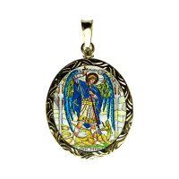 Arcángeles Uriel y Miguel dos laterales pintados medallón grabado oro