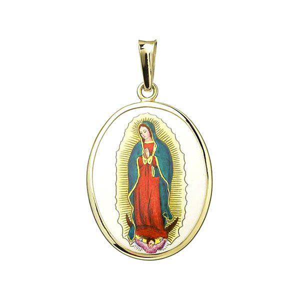 Medalla de Virgen Guadalupe grande colgante joya oro Aljančič